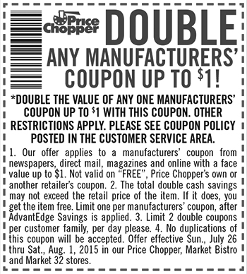 Price Chopper Double Coupons