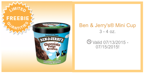 Ben and Jerry's coupon freebie